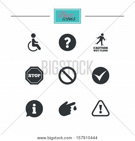 Attention caution icons. Question mark and information signs. Injury and disabled person symbols. Black flat icons. Classic design. Vector