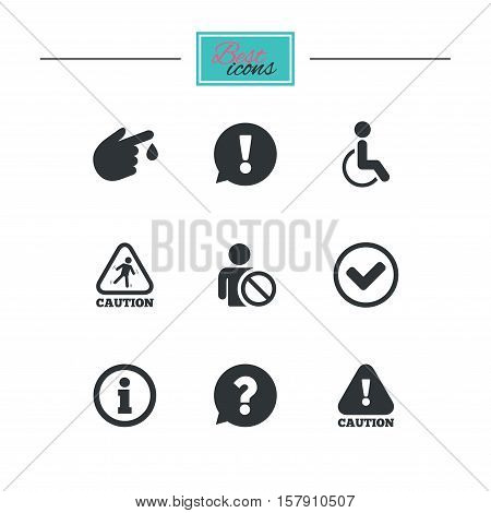 Caution and attention icons. Question mark and information signs. Injury and disabled person symbols. Black flat icons. Classic design. Vector