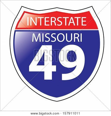 Layered artwork of Missouri I-49 Interstate Sign