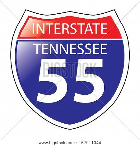 Layered artwork of Tennessee I-55 Interstate Sign