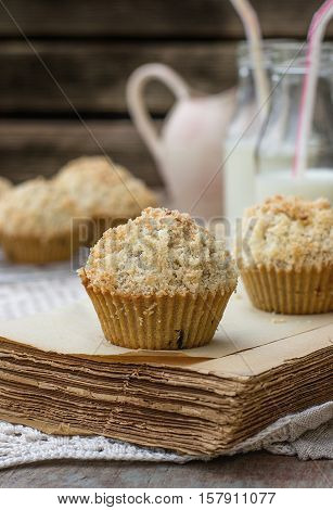 Chocolate chip muffins with coconut streusel on top