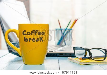 Coffee Break Relaxation Rest Relief Repose Concept. Morning hot drink cup on home or business office background.
