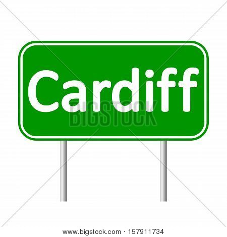 Cardiff road sign isolated on white background.