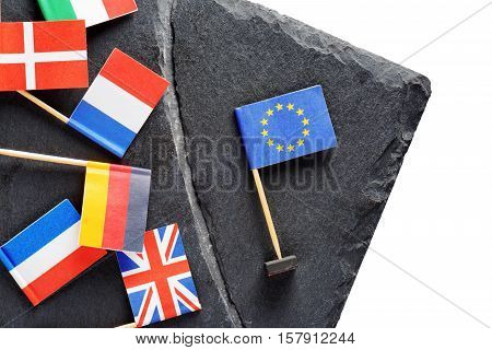 Political Concept With Small Flags Of The European Union