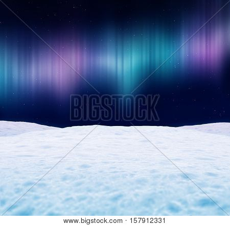 Winter landscape at night. Aurora borealis and stars in the sky. 3D illustration.