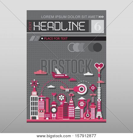 Cityscape with modern buildings vector illustration. Multipurpose brochure flyer design layout template with place for text. Mock-up proportional size A4 front page.