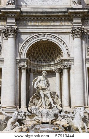 Neptune statue. One of the details of Trevi Fountain in Rome Italy. The largest Baroque fountain in the city and one of the most famous fountains in the world