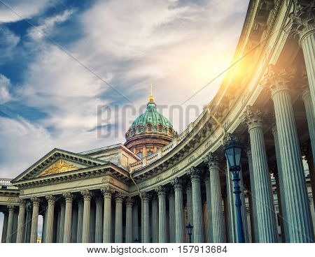 Kazan Cathedral in St Petersburg Russia. Dome and colonnade of Kazan Cathedral in St Petersburg Russia under evening sunshine. Soft filter applied. Architecture landscape of St Petersburg landmark