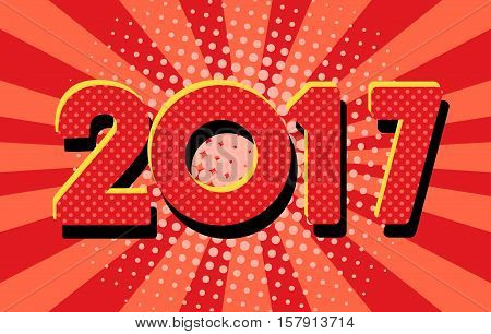 Happy new year 2017. Year 2016 vector design element. Pop art illustration. Merry Chrstmas Background for dinner invitations, festive posters,promotional depliant, greetings cards.
