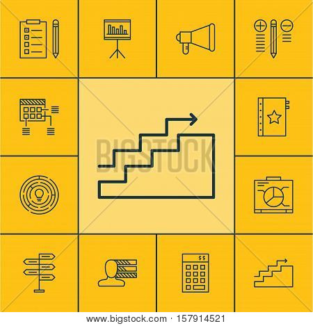 Set Of Project Management Icons On Decision Making, Growth And Schedule Topics. Editable Vector Illu