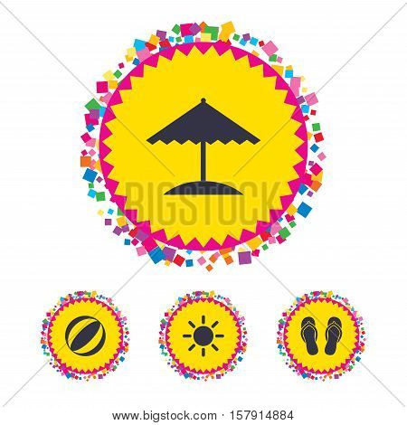 Web buttons with confetti pieces. Beach holidays icons. Ball, umbrella and flip-flops sandals signs. Summer sun symbol. Bright stylish design. Vector