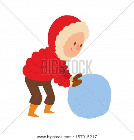 Christmas kid playing winter games. boy makes a snow man. Cartoon New Year winter holidays background.
