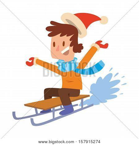 Christmas boy playing winter games. sledding, Cartoon New Year winter holidays background.
