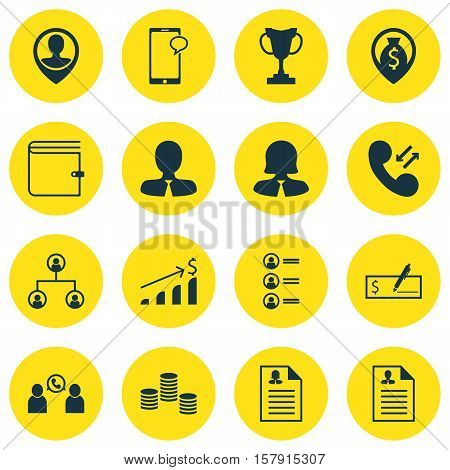 Set Of Hr Icons On Wallet, Female Application And Phone Conference Topics. Editable Vector Illustrat