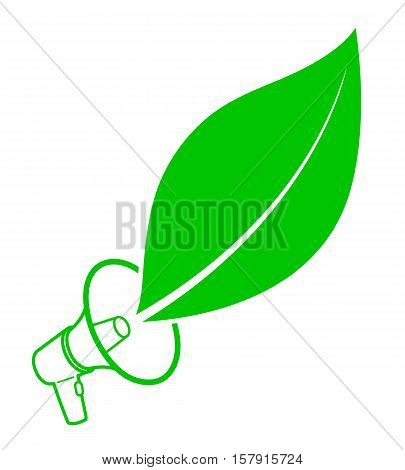 Ecological activist concept with a megaphone and fresh green leaf icon as a simple outline and silhouette vector drawing on white