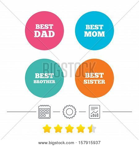 Best mom and dad, brother and sister icons. Award symbols. Calendar, cogwheel and report linear icons. Star vote ranking. Vector