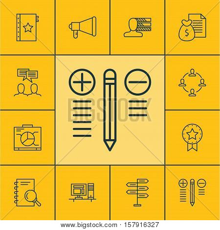 Set Of Project Management Icons On Decision Making, Personal Skills And Announcement Topics. Editabl