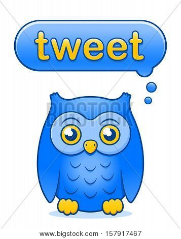 Cute little yellow and blue cartoon owl icon with a Tweet speech bubble above its head isolated on white - thinking about tweeting vector illustration