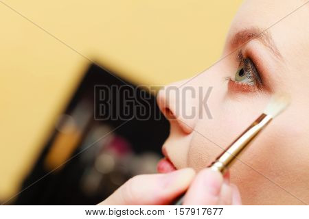 Visage concept. Close up woman getting make up on eyelids. Applying eyeshadow with brush opened eyes.