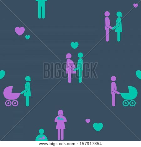 Family relationships and childbirth seamless pattern with colorful silhouette icons of a couple in love and the woman pushing a baby in a pram in square format vector illustration