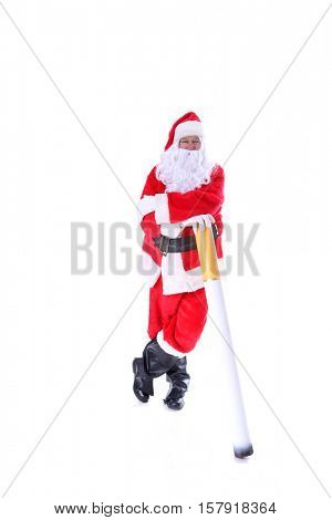 Smoking Hot Santa Claus.  Santa holds a Giant Cigarette. Isolated on white with room for your text.