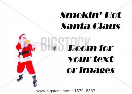 Smoking Hot Santa Claus.  Santa holds a Giant Cigarette as if he is Smoking. Isolated on white with room for your text.