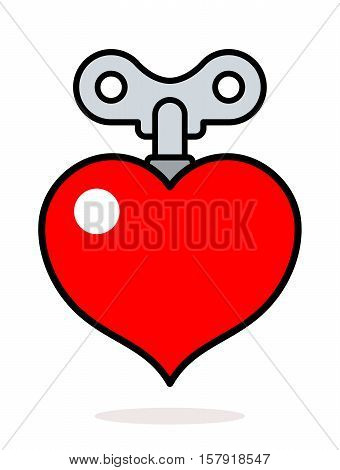 Colorful cartoon red heart icon with a metal winder key as a design element isolated on white for romantic and love themed concepts vector illustration