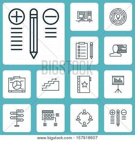 Set Of Project Management Icons On Decision Making, Opportunity And Schedule Topics. Editable Vector