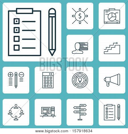 Set Of Project Management Icons On Decision Making, Money And Growth Topics. Editable Vector Illustr