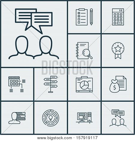Set Of Project Management Icons On Board, Personal Skills And Report Topics. Editable Vector Illustr