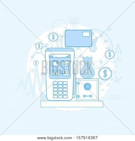 Credit Card Banking Nfc Terminal Checkout Vector Illustration