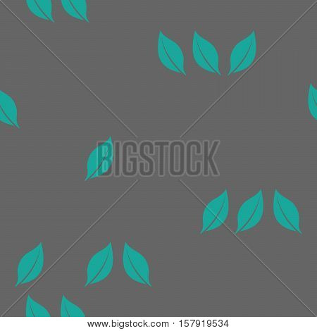 Seamless background pattern of scattered green leaves on a grey background in a square format for a tile print or fabric vector illustration