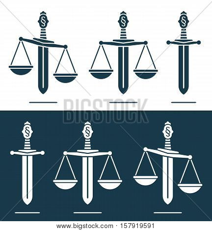 Scales of justice vector on a broadsword with a paragraph symbol on the handle conceptual of power justice and misuse of power in a set of three in two different variations of blue and white