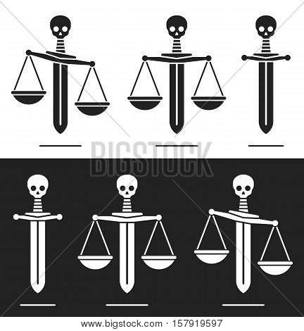 Sword combined with the scales of justice with a skull handle in a concept of terror horror power abuse of power and justice black and white silhouette sets vector illustration