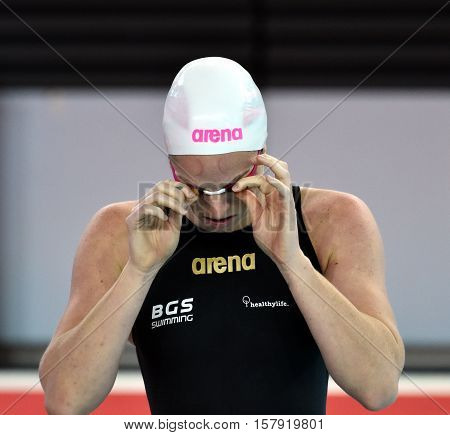 Hong Kong China - Oct 29 2016. Australian olympian and world champion swimmer Emily SEEBOHM at the start. FINA Swimming World Cup Preliminary Heats Victoria Park Swimming Pool.