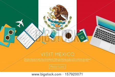Visit Mexico Concept For Your Web Banner Or Print Materials. Top View Of A Laptop, Sunglasses And Co