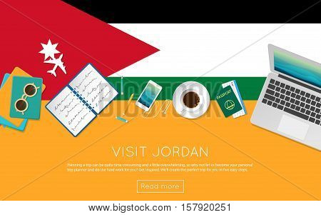 Visit Jordan Concept For Your Web Banner Or Print Materials. Top View Of A Laptop, Sunglasses And Co