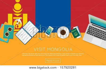 Visit Mongolia Concept For Your Web Banner Or Print Materials. Top View Of A Laptop, Sunglasses And