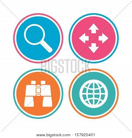 Magnifier glass and globe search icons. Fullscreen arrows and binocular search sign symbols. Colored circle buttons. Vector