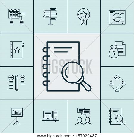 Set Of Project Management Icons On Report, Board And Computer Topics. Editable Vector Illustration.
