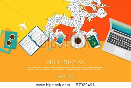 Visit Bhutan Concept For Your Web Banner Or Print Materials. Top View Of A Laptop, Sunglasses And Co