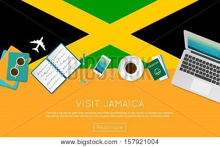 Visit Jamaica Concept For Your Web Banner Or Print Materials. Top View Of A Laptop, Sunglasses And C