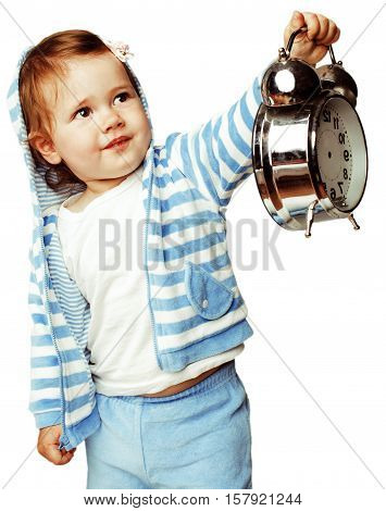little cute girl in hood with clock alarm holding isolated on white background close up lifestyle