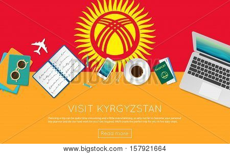 Visit Kyrgyzstan Concept For Your Web Banner Or Print Materials. Top View Of A Laptop, Sunglasses An