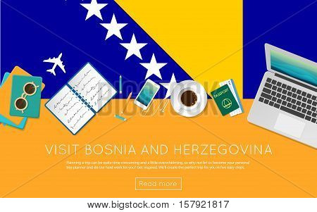 Visit Bosnia And Herzegovina Concept For Your Web Banner Or Print Materials. Top View Of A Laptop, S