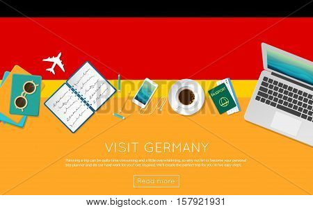 Visit Germany Concept For Your Web Banner Or Print Materials. Top View Of A Laptop, Sunglasses And C