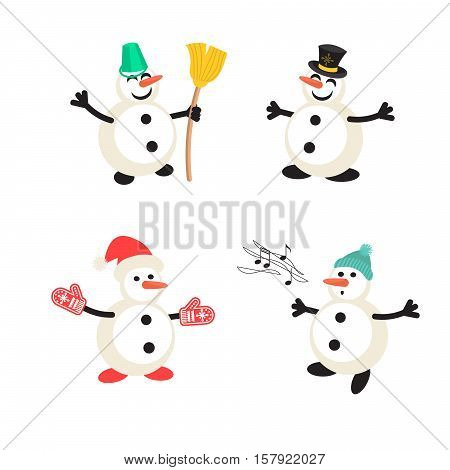 Snowman cartoon vector icon set. New Year personage illustration.