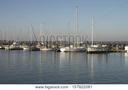 Boats are moored at the Bridgeton Marina on a sunny Sat. morning in November in Bridgeton North carolina
