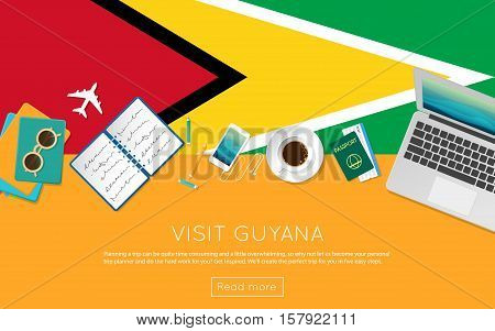 Visit Guyana Concept For Your Web Banner Or Print Materials. Top View Of A Laptop, Sunglasses And Co