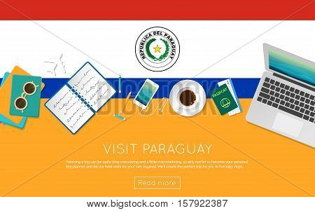 Visit Paraguay Concept For Your Web Banner Or Print Materials. Top View Of A Laptop, Sunglasses And
